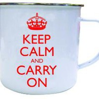 Keep Calm And Carry On Mug Enamel