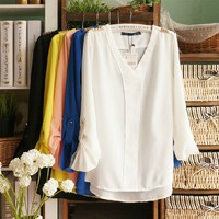 V-Neck Loose Chiffon Blouse