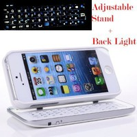 Case MaMa Multifunction Bluetooth Keyboard Case Sliding Function + Standing Function + Backlight Function + 12 Button Specially Designed for Iphone 5 Iphone5 I5 - White:Amazon:Cell Phones & Accessories