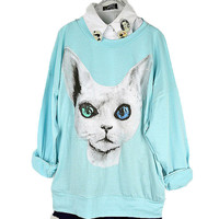 Candy Color Cool Kitty Blouse