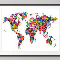 Love Hearts Map of the World Map, Art Print 18x24 inch (776)