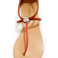 Bamboo Grayson 01 Chestnut Multi T-Strap Thong Sandals