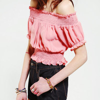 Doe & Rae Smocked Cropped Top