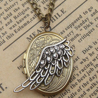 Steampunk Wing Locket Necklace Vintage Style by sallydesign