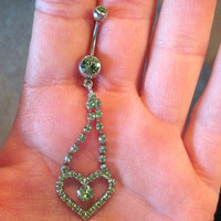 Navel Belly Button Ring Light Green Crystal Heart Rhinestones Barbell Naval