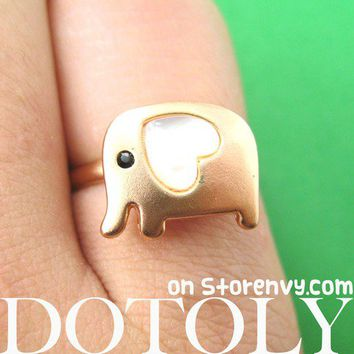 Adjustable Elephant Animal Ring in Copper with Heart Shaped Ears from Dotoly Love