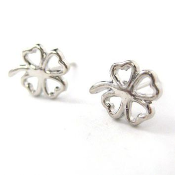 Four Leaf Clover Floral Cut Out Stud Earrings in Silver from Dotoly Plus
