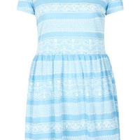 Lace Print Skater Dress - Dresses  - Clothing