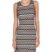 Zigzag Knit Dress, Black Combo