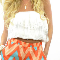 Lita Crush Fringe White Tube Top