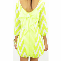 Bellamy Bow Neon Yellow Dress