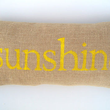 SUNSHINE word burlap pillow bright cheerful by whimsysweetwhimsy