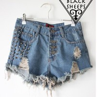 2 colors Rivet denim shorts