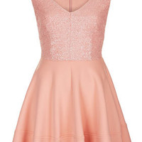 Sequin Bodice Skater Dress - Dresses  - Clothing