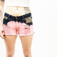 Two Toned Vermilion Distressed Studded Shorts
