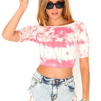 Missguided - Fausta Tie Dye Off Shoulder Crop Top