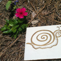 Gold Snail Whimsical Victorian Style Garden Stepping Stone Hand Painted
