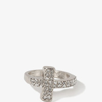 Rhinestoned Curved Cross Ring | FOREVER 21 - 1030187859