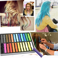 New Fashion 24 Colours Temporary Color Dye Hair DIY Nontoxic Hair Color Chalk Pastel
