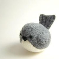 Handmade Pudgy Bird Stuffed Animal in Dark Gray by bubbletime