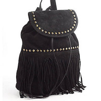 Fringed Suede Backpack | Lord and Taylor
