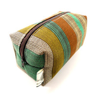 Teal, Olive and Brown Striped Makeup Bag, Gadget Case, unisex, under 10, small, zippered, pencil case, for her