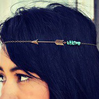 alapop — arrow and turquoise nugget chain headband