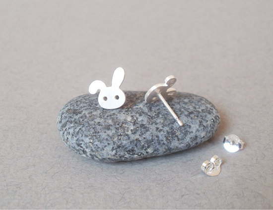 Sterling Silver Bunny Rabbit Earring Studs Version 2, Handmade In Beautiful Cornwall