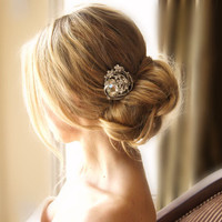 Round Crystal Headpiece Bridal Hair Comb Wedding by FleursdeParis