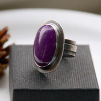 Purple Jade Ring Oxidized Sterling Silver by sabineajewelry