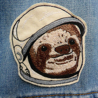 Space Sloth Embroidered Patch/Brooch by LeighLaLovesYou on Etsy