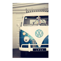 Vintage vw combi campervan beach surf blue white by ShabbyStudios