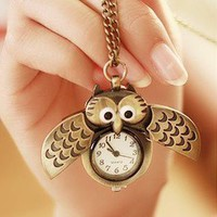 Retro Bronze Owl Pocket Watch Necklace