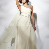 Elegant Column One-Shoulder Asymmetrical Chiffon Evening Dress-SinoSpecial.com