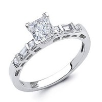 14K White Gold Princess-cut with Side Stone CZ Cubic Zirconia Ladies Wedding Engagement Ring Band - Size 4
