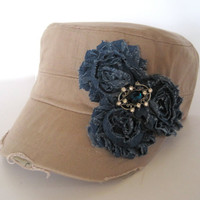 Cadet Military Distressed Khaki Army Hat with Blue Denim Shabby Flowers and a Matching Blue Rhinestone Accent