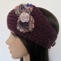 Purple Ear Warmer Headband Headwrap with Multi Colored Purple Shabby Frayed Flowers and a Lavender Cabochon Flower Accent
