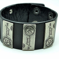 Friendship Punk Adjustable Black Leather Bracelet Skull Rivets Gifts for Men's Bracelet 2272S