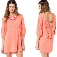 NWT PEACH MINI DRESS CASCADING BOW BACK 3/4 OPEN SLIT SLEEVE WIDE NECK SHIFT