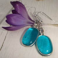 Earrings Aquamarine Turquoise fused glass by GeckoGlassDesign