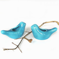 Blue Bird Ceramic Spring birds Candle holder by blueroompottery