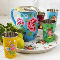 VivaTerra - Flowered Enamel Pitcher, Cups &amp; Tray