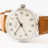 Soviet vintage wristwatch men's watch silver tone watch classical accessory