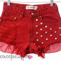 Vintage STUDDED Red DYED Denim Levis Mid by KaleidoscopeEyesVtg