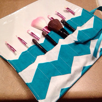 Large teal and white chevron brush roll