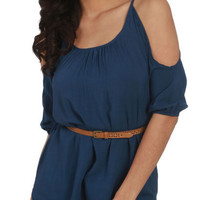 Cold Shoulder Belted Top - Teen Clothing by Wet Seal