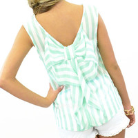 Just Darling Big Bow Back Teal Blouse