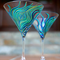 Peacock Martini GlassesSet of 2 Hand Painted by MaryElizabethArts