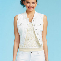Crochet Back Cream Vest
