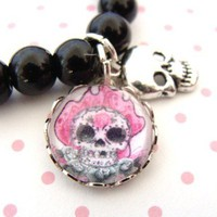 Flamin&#x27; Hot Pink Sugar Skull Bubble Charm Bracelet by GirlOfThe80s